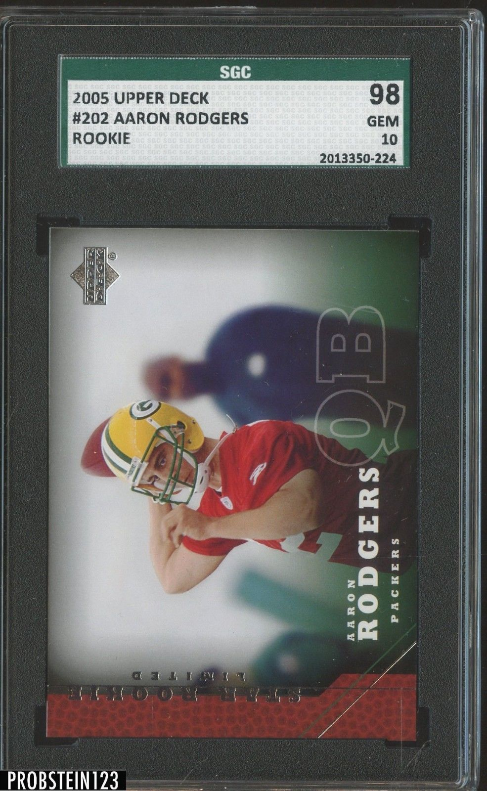 2005 Upper Deck 202 Aaron Rodgers Green Bay Packers Rc Rookie Sgc 98 Gem 10 Footballcards Sgc Graded Football Card Auctions From Probstein123 Pinterest