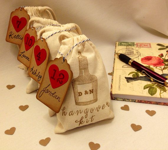 Hangover/Survival Kit Bag. Personalized initials. Customized wedding favor, groomsmen gift, escort or place card. BULK DISCOUNT AVAIL. 4x6