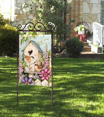 Three Lovely Ways To Display Your Decorative Garden Flags Garden Flag Holder Flag Decor Garden Flag Stand