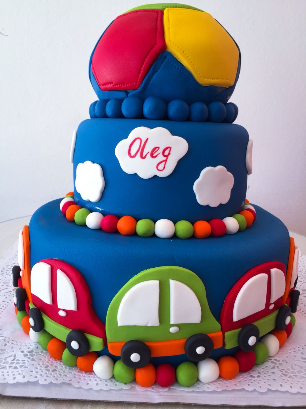 Car 1st birthday cake