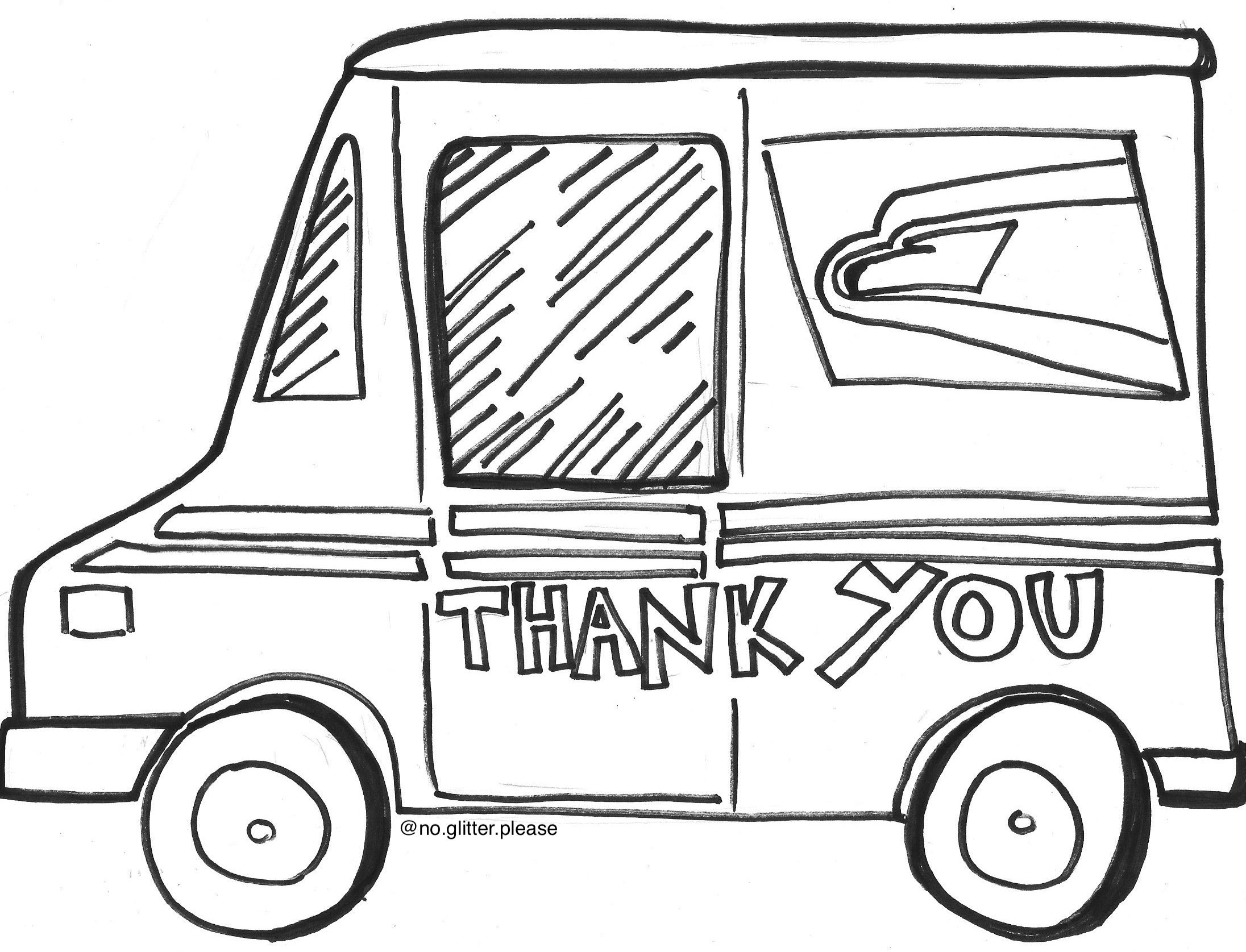 Thank You Mail Truck Truck Coloring Pages Mail Truck Projects For Kids