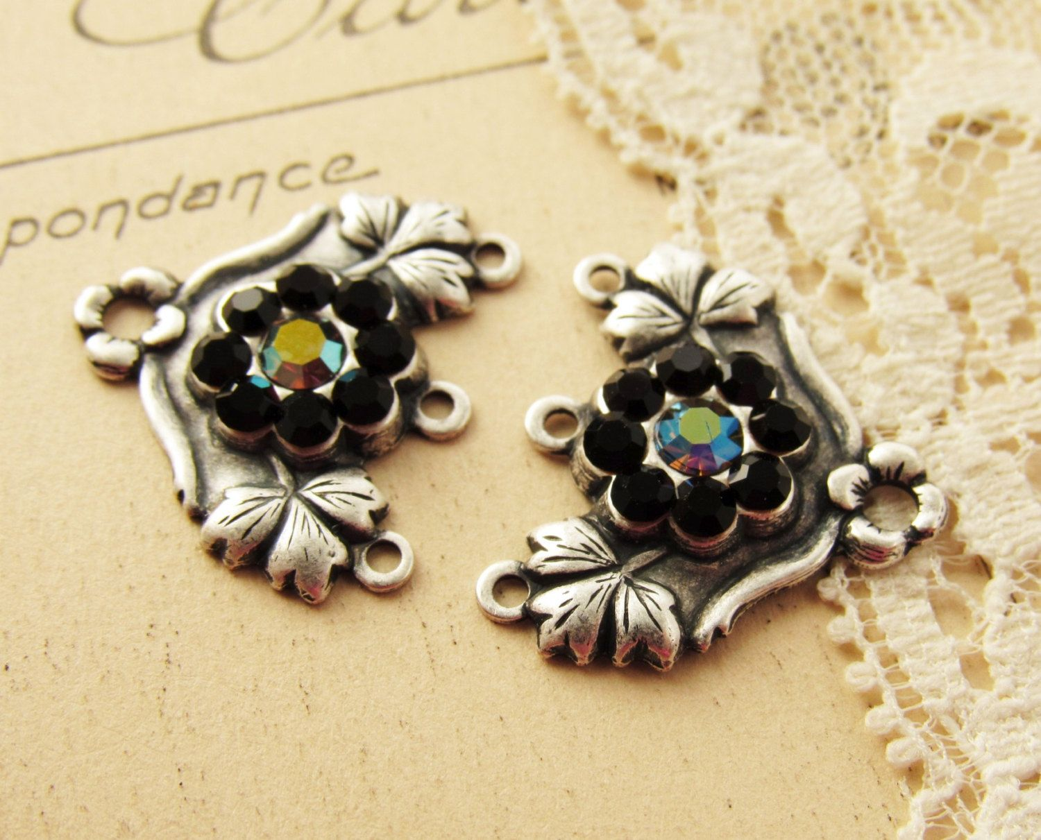 Antiqued Silver Rhinestone Flower Chandelier Earring Connector ...