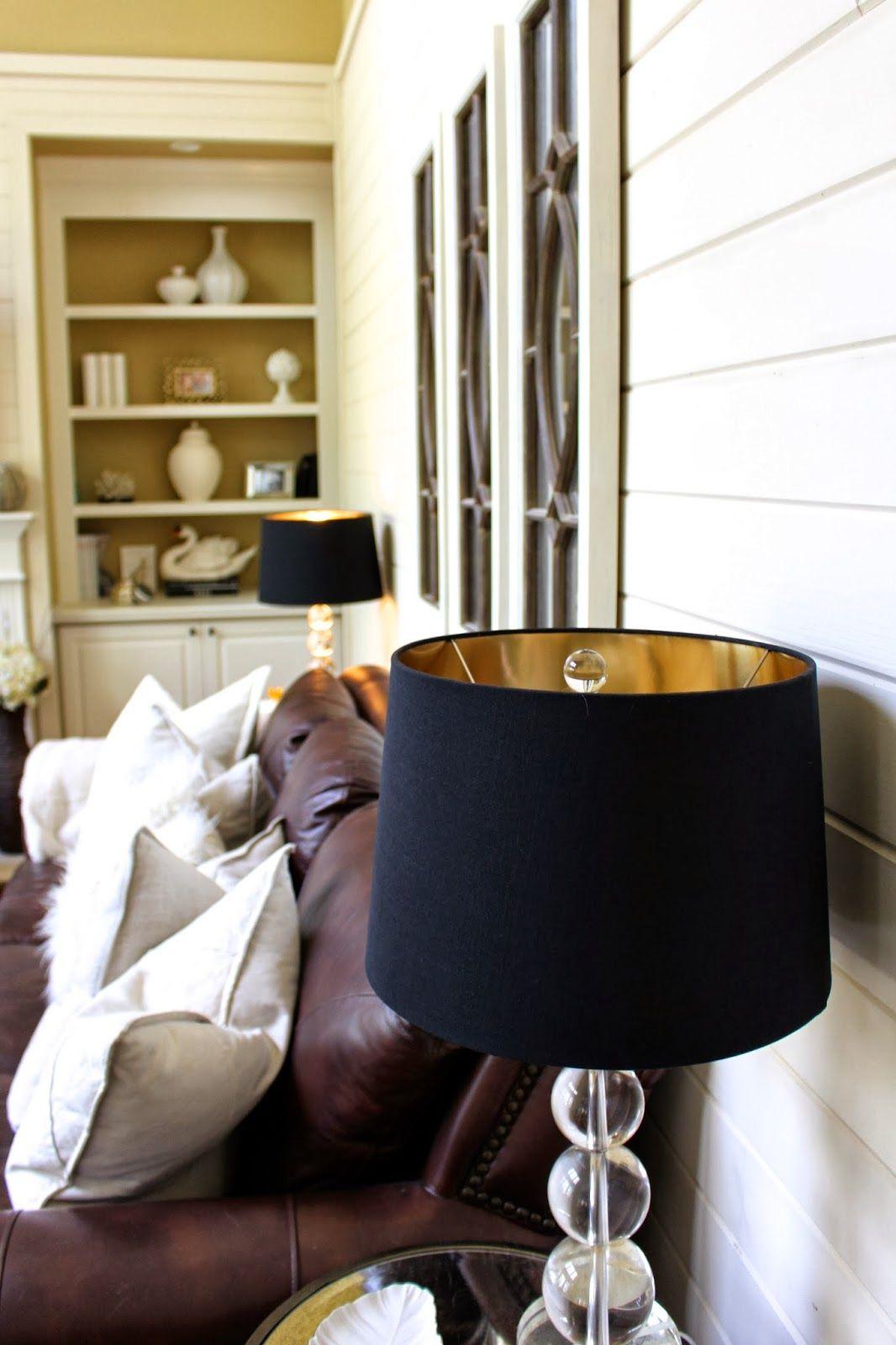 Black lamp shades with gold interior lining Farmhouse