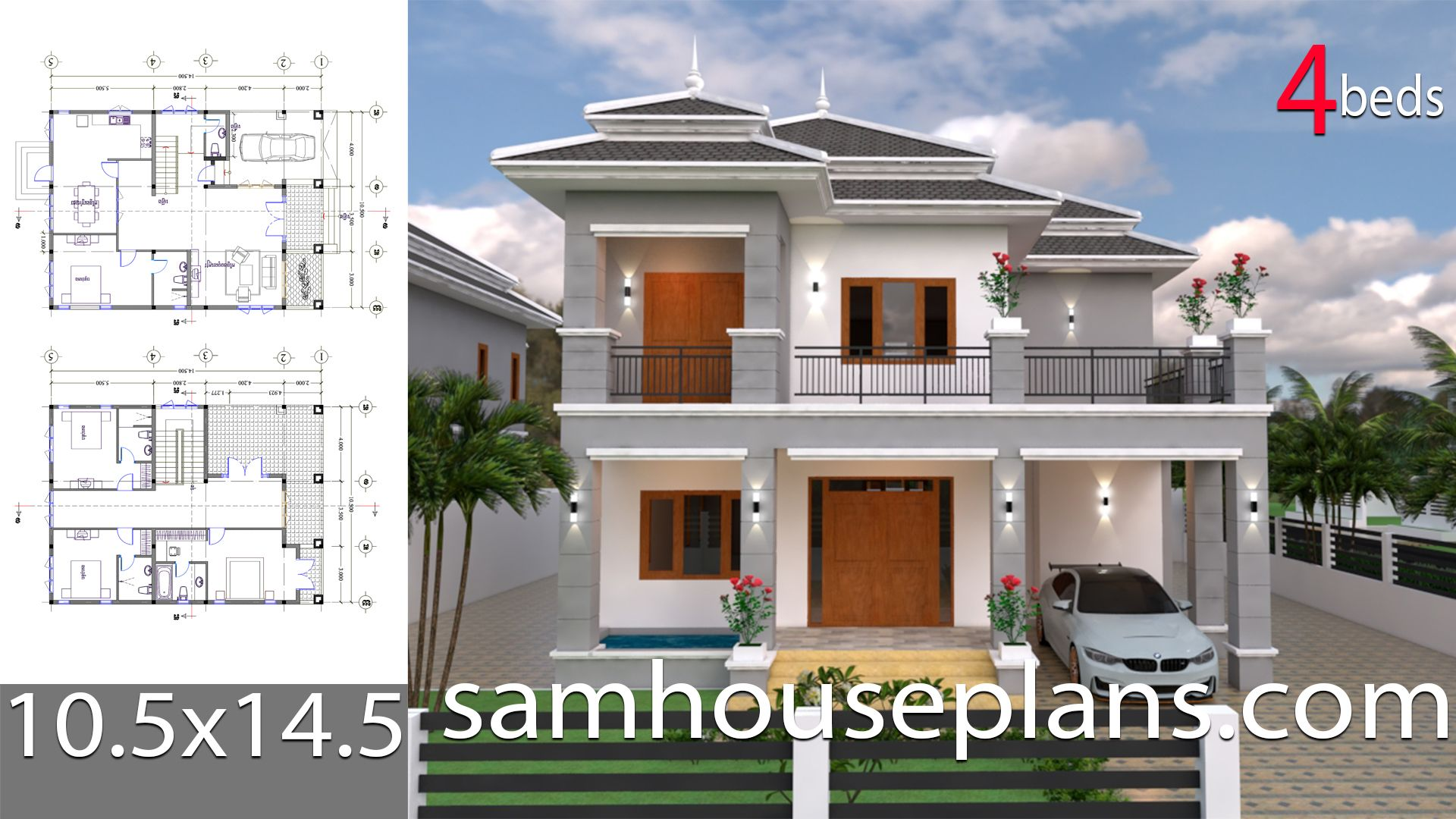House Plans 10 5x14 5 With 4 Bedroomsthe House Has Car Parking And Garden Living Room Dining Roo In 2020 House Plans Small House Design Plans House Construction Plan