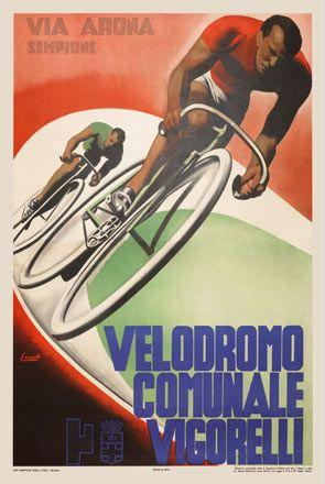Velodrome Racing Vintage Bicycle Poster Print Cycling