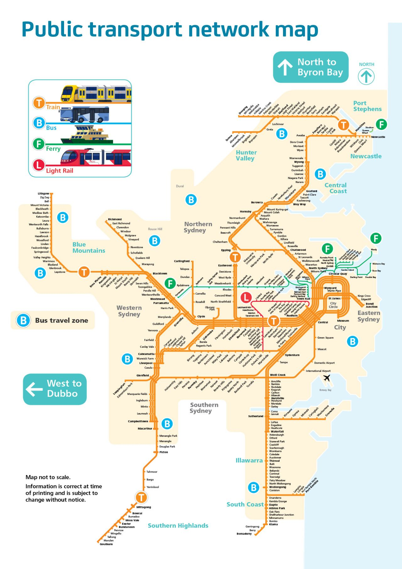 Official Map Public Transport Network Map of Sydney Australia I