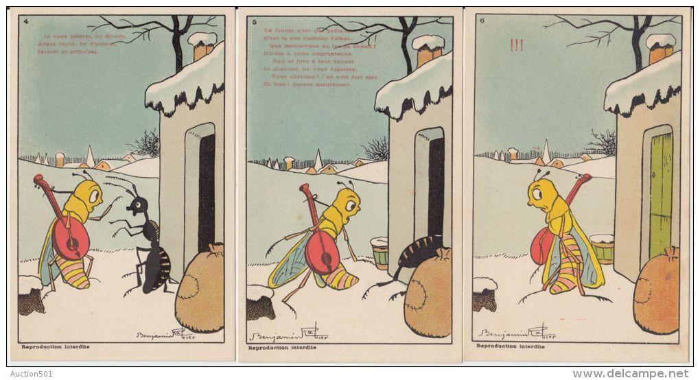 19784g benjamin rabier la cigale et la fourmi fable - Illustration la cigale et la fourmi ...