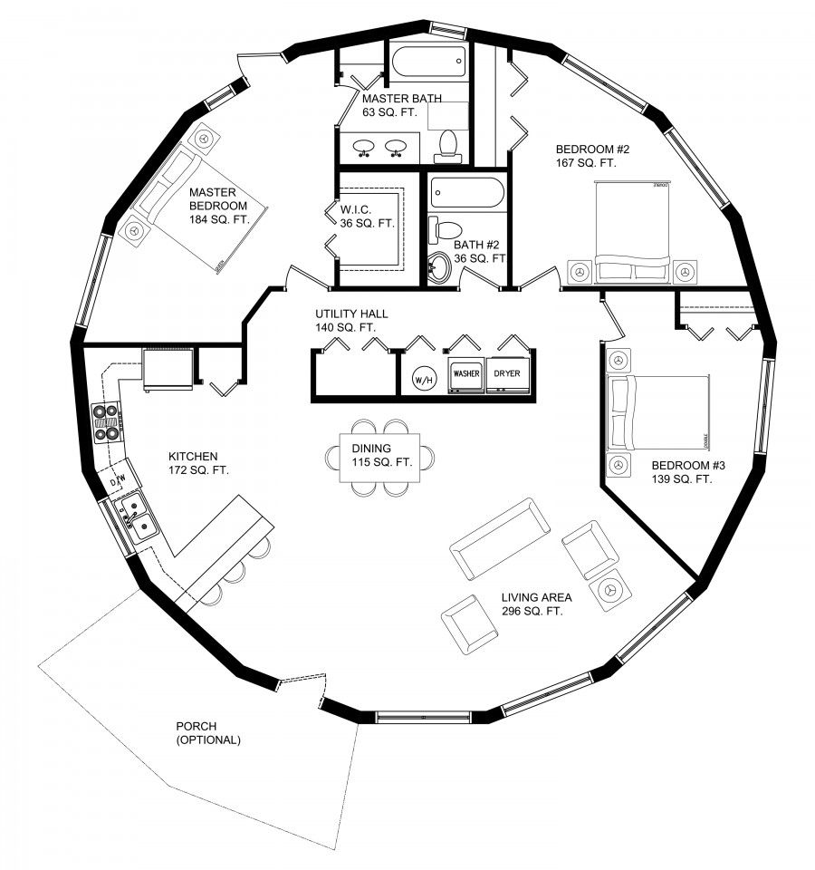 The Efficiency And Durability Of Our Classic Round Design In 2 Bedroom Or 3 Bedroom Layouts House Floor Design Round House Plans Round House