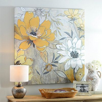 Vintage Yellow Gray Floral Canvas Art Print In 2020 Yellow