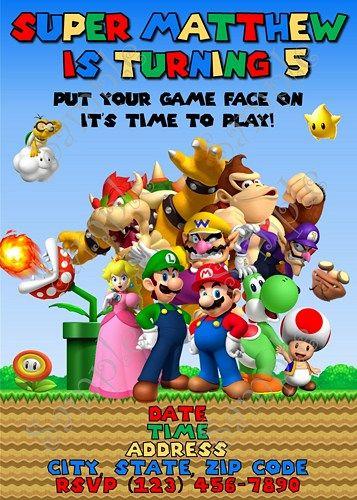 Super Mario Birthday Party Invitation Free Thank You Card Mario