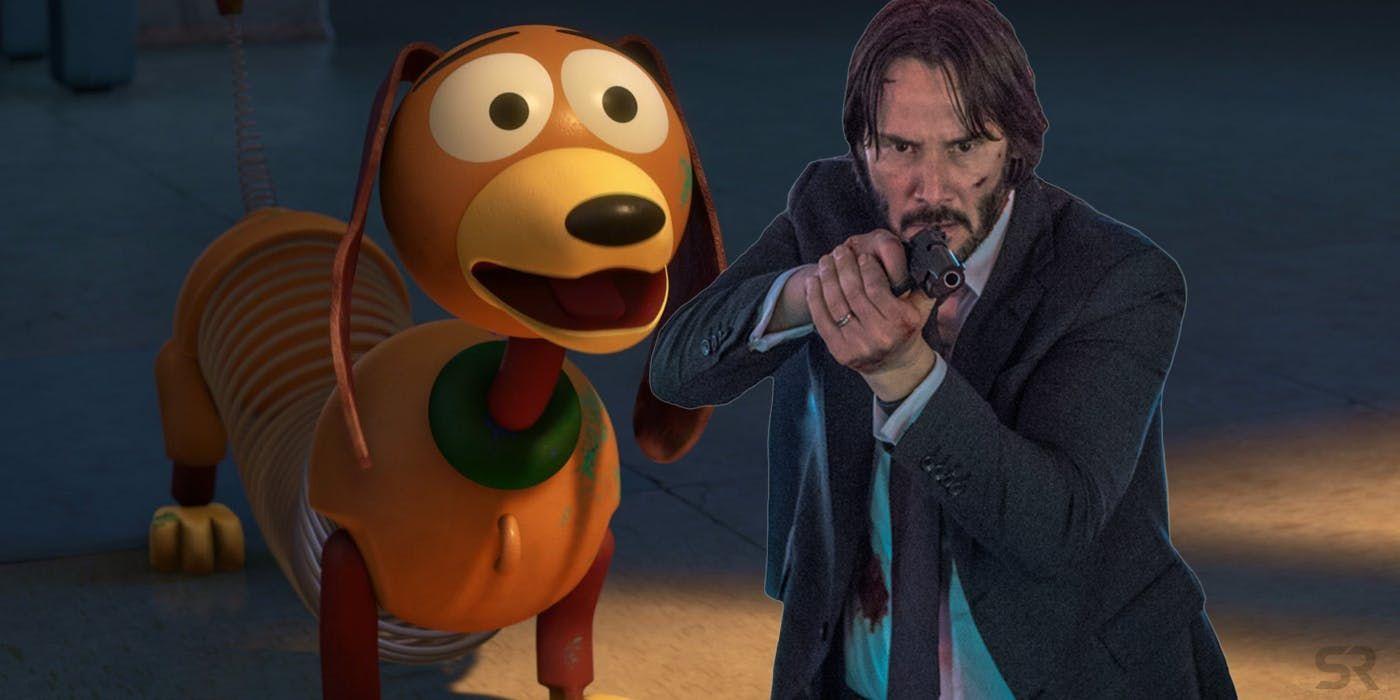 Toy Story 4 Fan Art Features John Wick Toy Dead Slinky Dog Fan