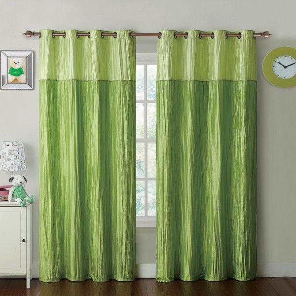 Vcny Mondrian Juvi Crushed Taffeta Window Panel (275 CNY) ❤ liked on Polyvore featuring home, home decor, window treatments, curtains, green, green window panels, grommet window treatments, green curtain panels, grommet curtain panels and green curtains
