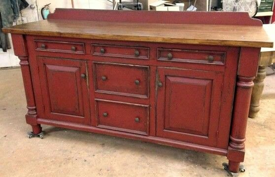 Custom modified credenza made into a bathroom vanity Farm Tables