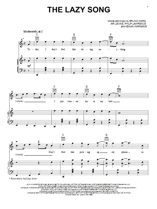 The Lazy Song By Bruno Mars Piano Vocal Guitar Right Hand