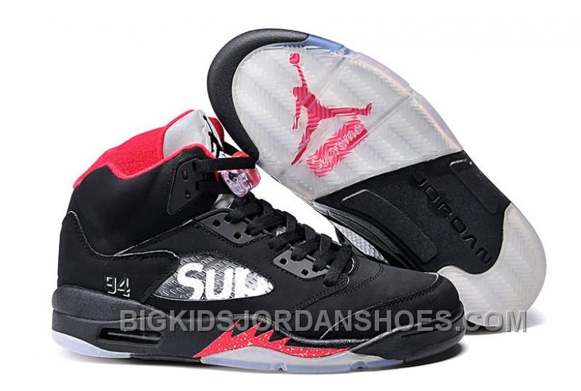 6301e19fc758 New Kids Supreme X Air Jordan 5 Black in 2019