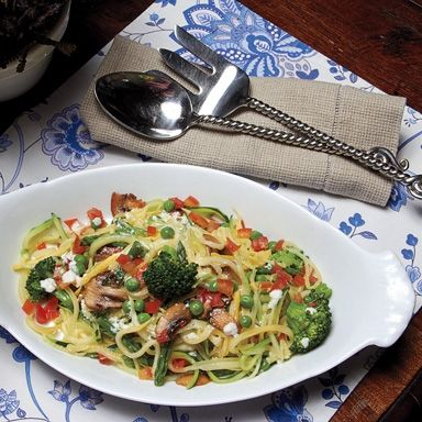 #MeatlessMonday Recipe: Zucchini Primavera. This recipe uses zucchini strips in place of pasta.
