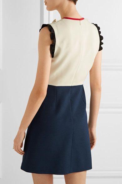 Gucci - Ruffle-trimmed Silk And Wool-blend Mini Dress - Navy - IT36