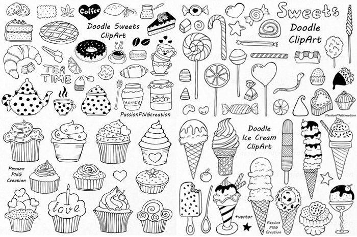 Big Set Of Doodle Sweets Cliparttea Time Clip Art Dessert Etsy How To Draw Hands Doodles Clip Art