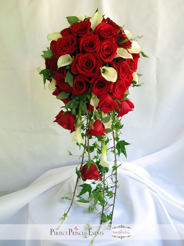 White Calla Lily And Red Rose Bouquet Wedding Lilies Roses