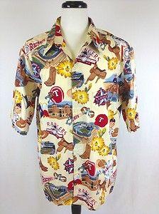 Reyn Spooner Mens Rangers Khaki Baseball Print Button Up Camp Shirt XL Nice | eBay