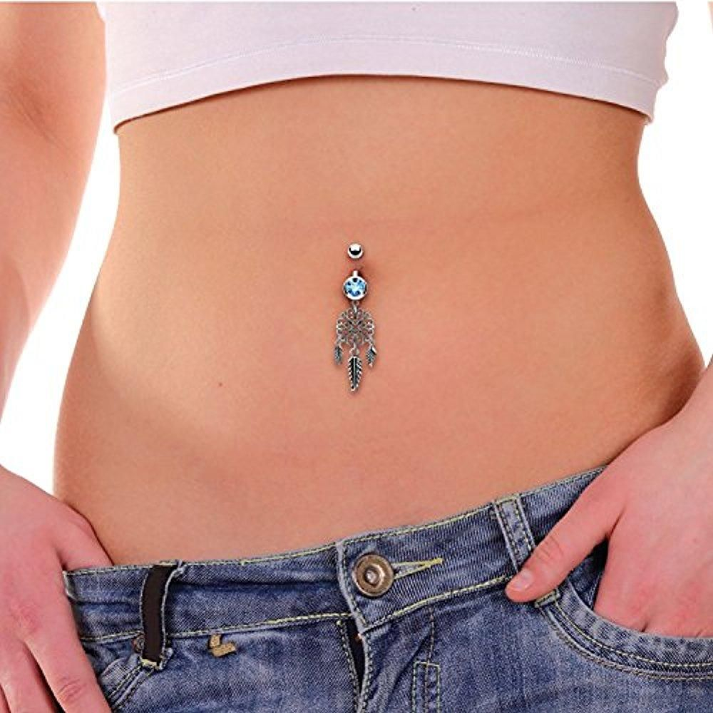 4 belly button piercing  Belly Button Ring Filigree Heart Dream Catcher G Curved Barbell