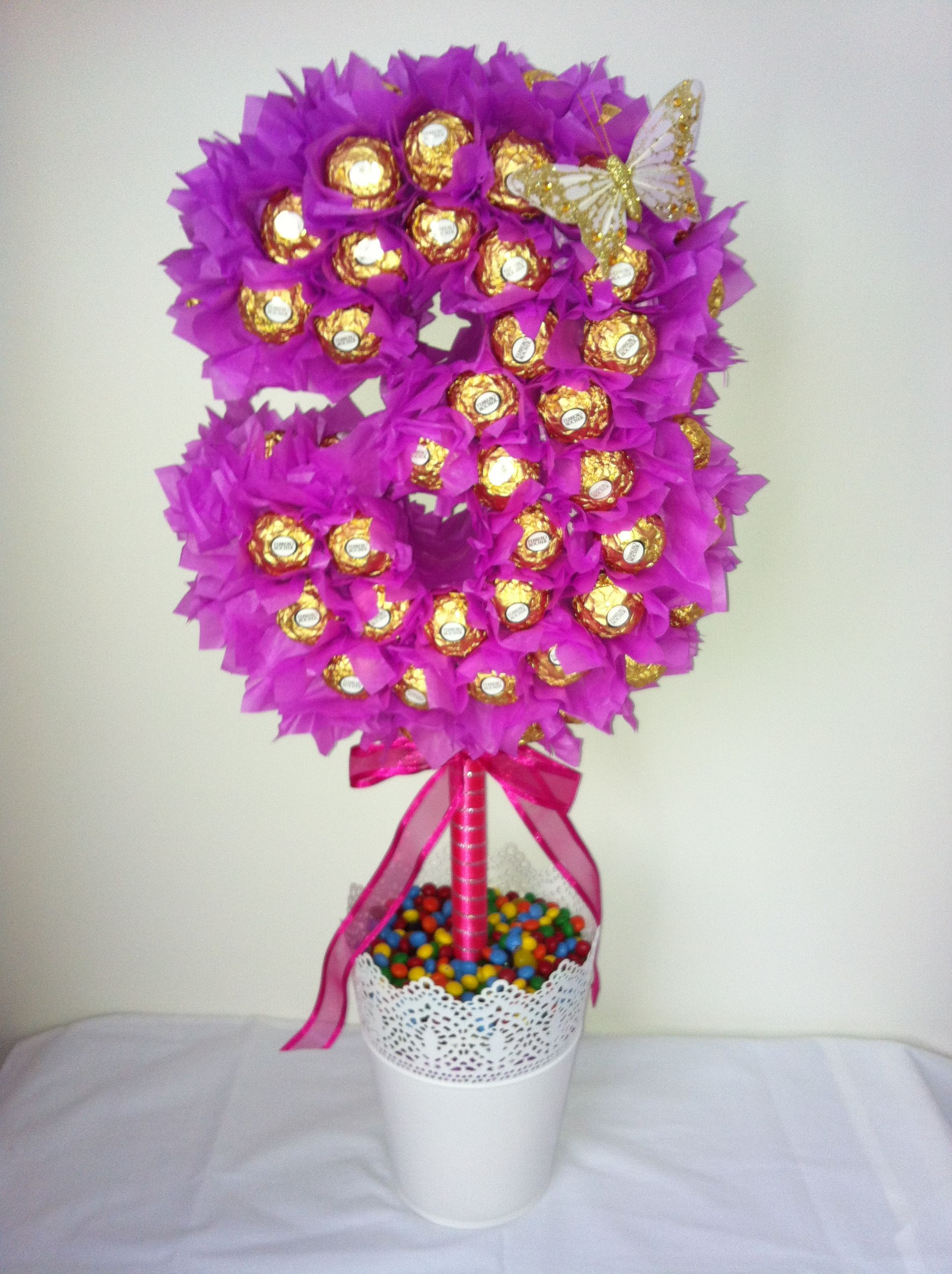 A number 3 Ferrero Rocher lolly tree | candy buket choco | Pinterest ...