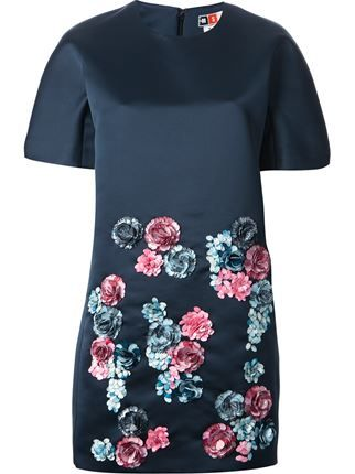 Msgm Flower Embroidered Boxy Dress - Laboratoria - Farfetch.com