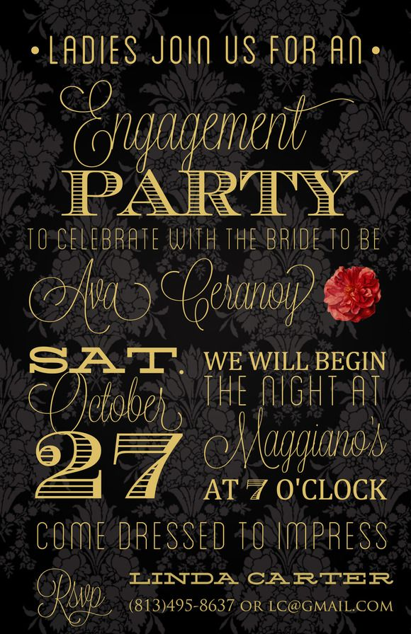 Burlesque Engagement Party Invite by adorablelilthings on Creative - free engagement party invites