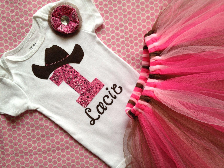 36b6c64beb5d5 NEW Baby Girl's First Birthday Onesie Shirt, Cowgirl Birthday, 1st Birthday,  Tutu Skirt & Bow. $40.00, via Etsy.