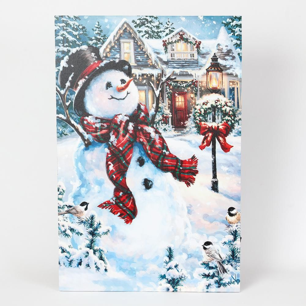 Winsome House 24 In Holiday Home And Snowman Print With Led Lights Indoor Christmas Decorations Cross Paintings Frame Wall Decor