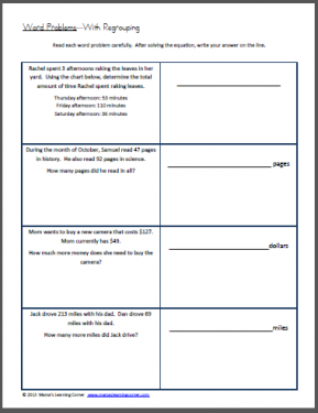 Word Problems with Regrouping Worksheet   Word problems ...