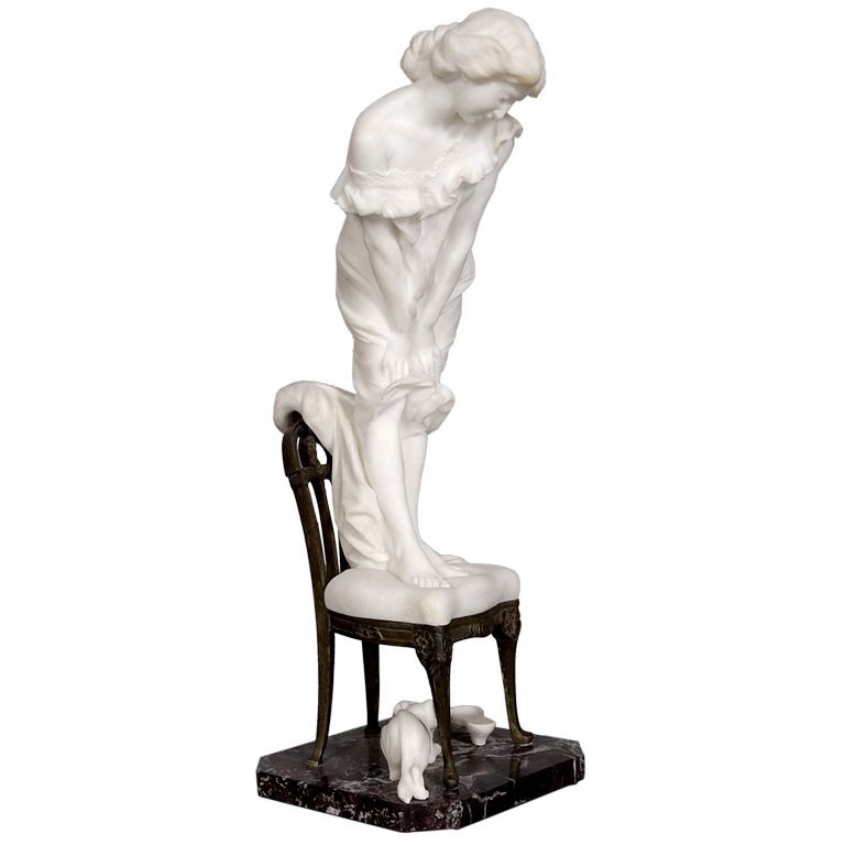 Super La Femme au Chat Bronze & Alabaster Group by Vittorio Caradossi SU96