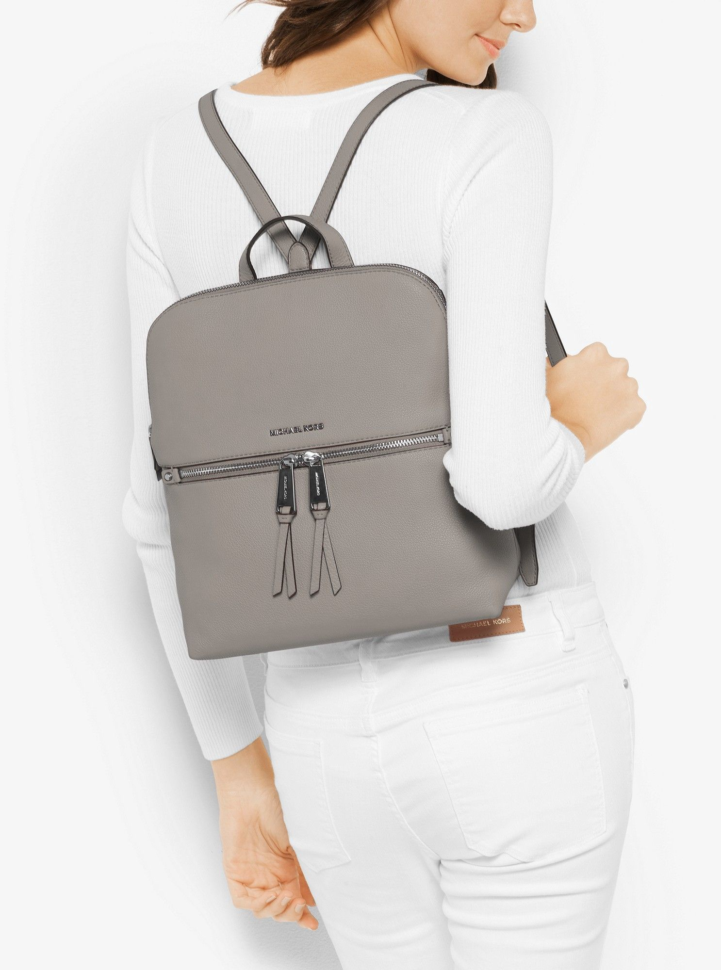a8520794408a Michael Kors Rhea Medium Slim Leather Backpack - Pearl Grey ...