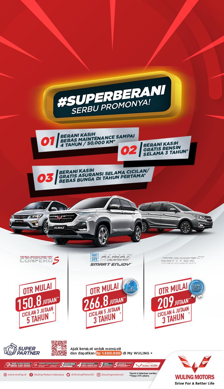 Promo Wuling Super Berani Gratis Perawatan Kendaraan Sampai 4 Tahun Bisa Dicicil Bunga 0 Persen Mobil Mpv Kendaraan Perawatan