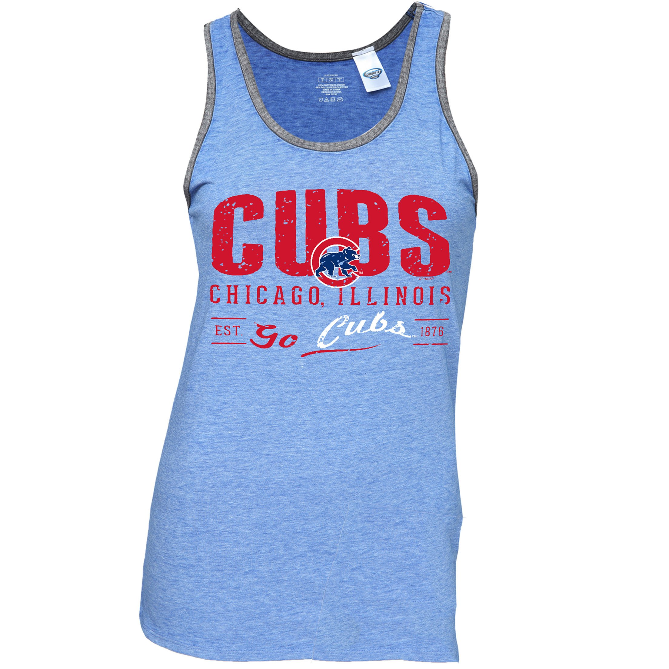 a928ac5b3ae209 Chicago Cubs Women s Royal Soft Burnout Trimmed Tank Top