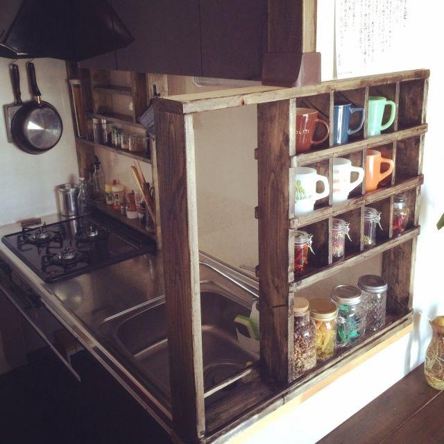 キッチン 収納アイデア Diy 一人暮らし 食器 などのインテリア実例