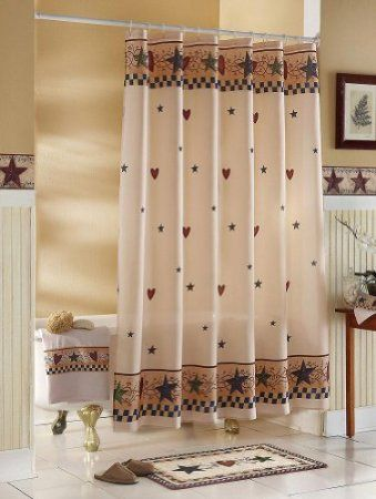 Amazon Com Country Primitive Stars Hearts Shower Curtain By