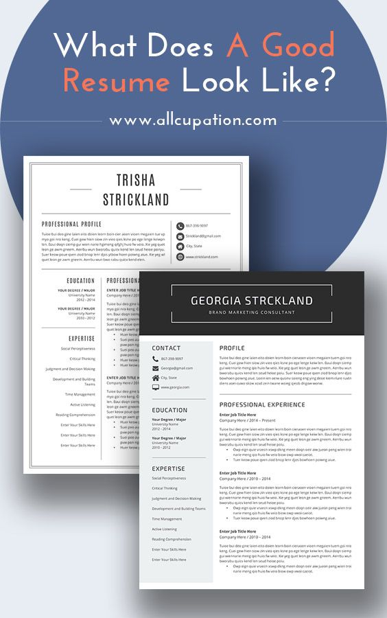 What Does A Good Resume Look Like Visit Www Allcupation Com For