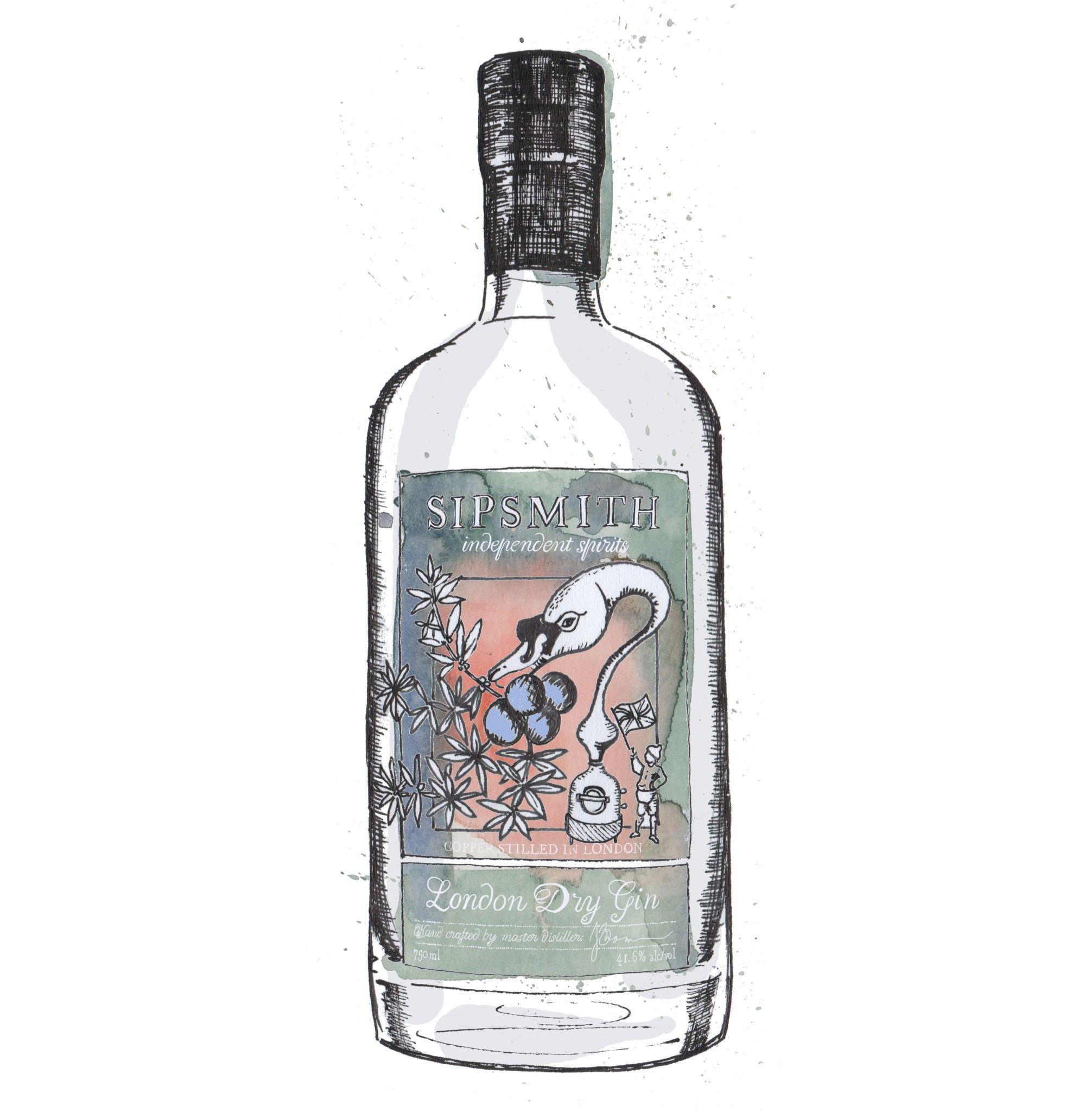 Gin Bottle Watercolour Illustrations De Winton Paper Co In 2019 Gin Bottles Watercolor