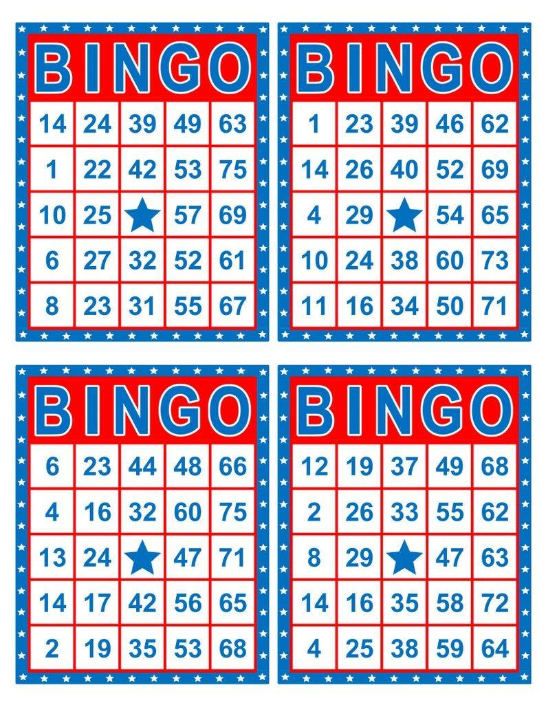 Bingo Cards, 1000 cards, 4 per page, immediate pdf