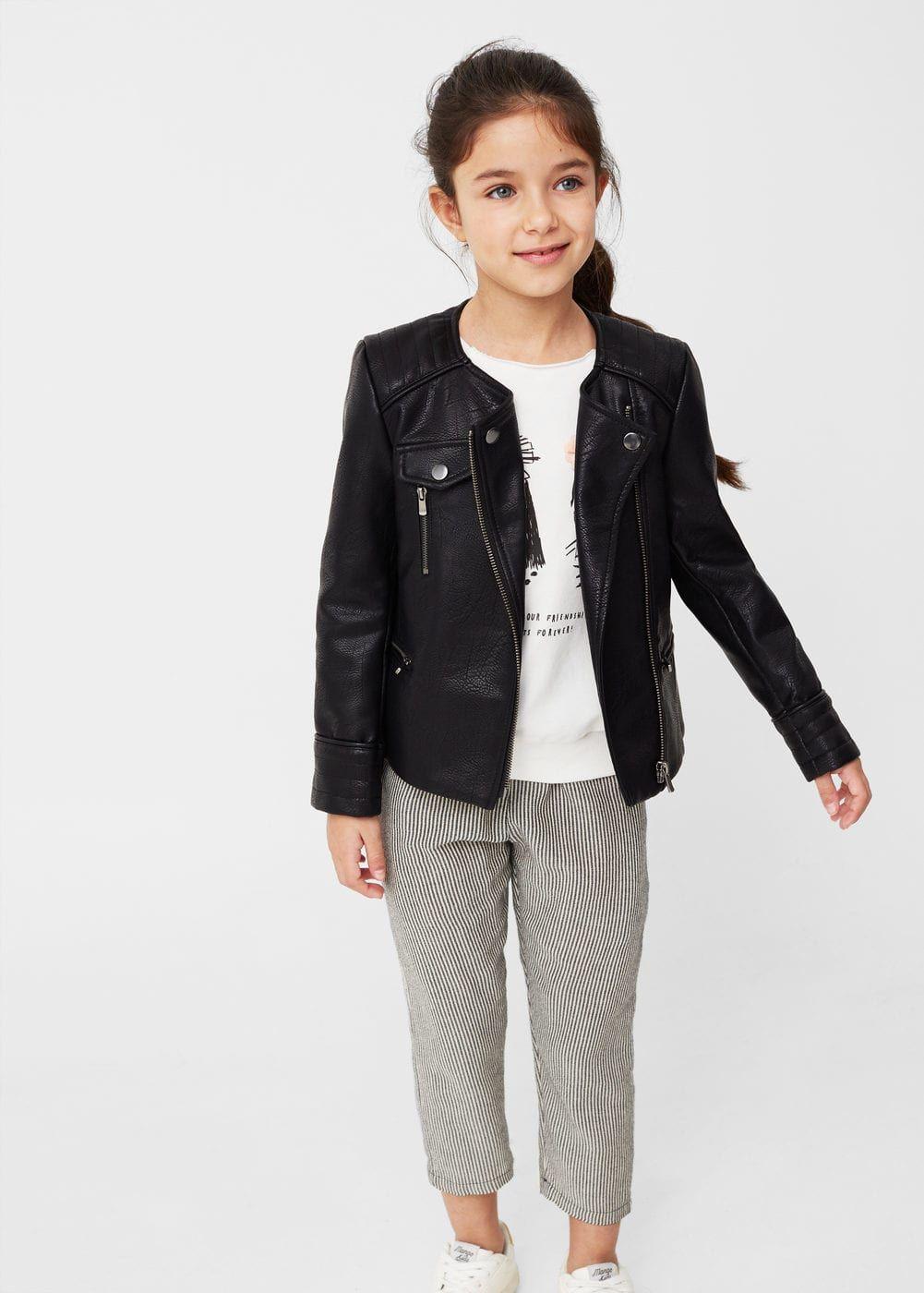 Zipped Biker Jacket Girls Mango Kids Usa Anak Perempuan Perempuan Anak [ 1400 x 1001 Pixel ]
