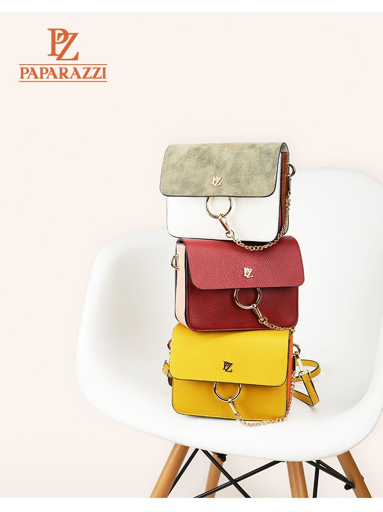 68729cd9ce74 Guangzhou Paparazzi Leather Co. Ltd 2017 most popular Color blocking lady   shoulderbag with decorative metal chain.