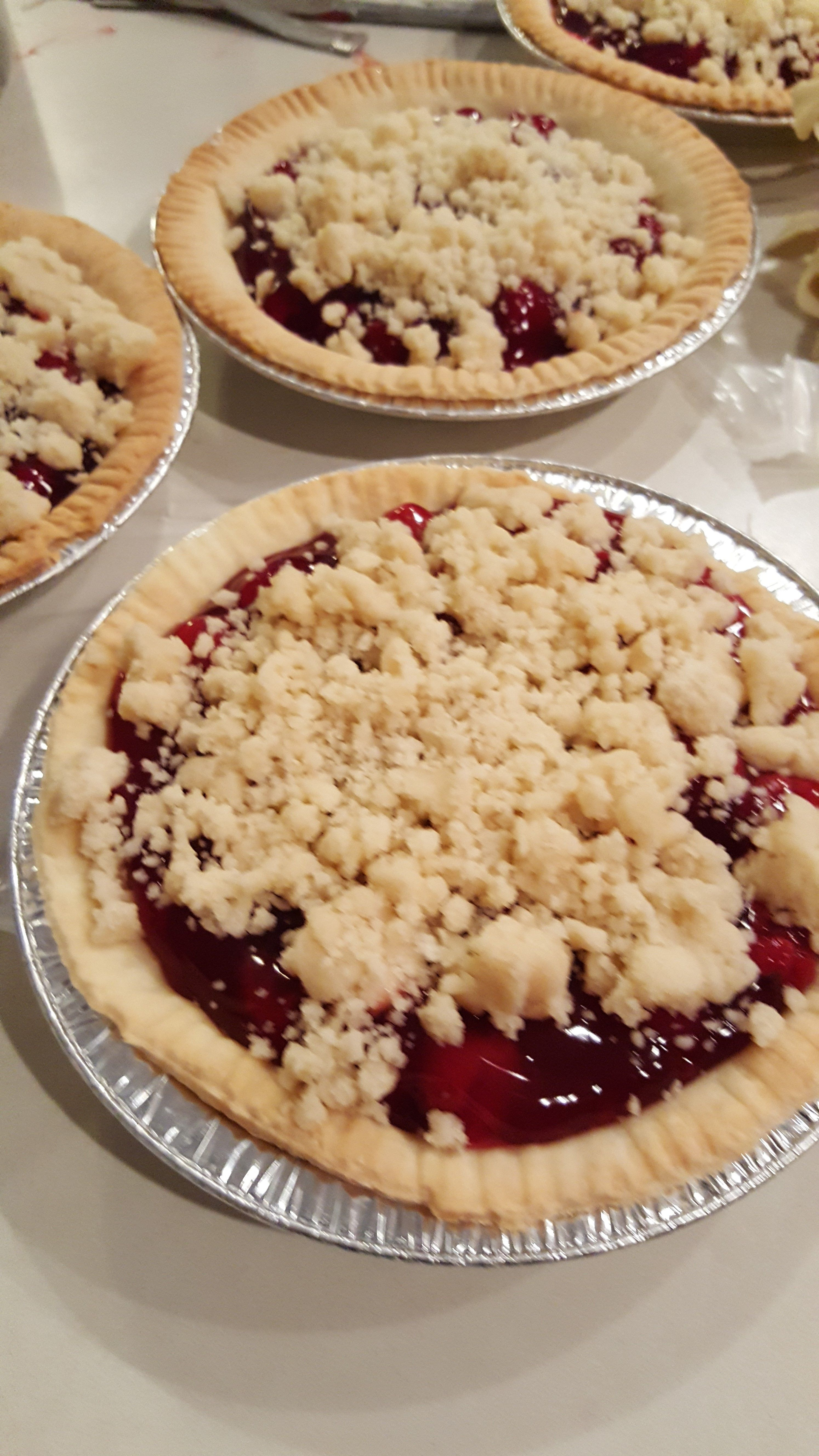 HOMEMADE CHERRY CRUMB PIES! Our Bake Sales Have Something