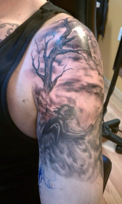 tattoos-ideas-realistic-black-and-grey-tree-of-life-with ...