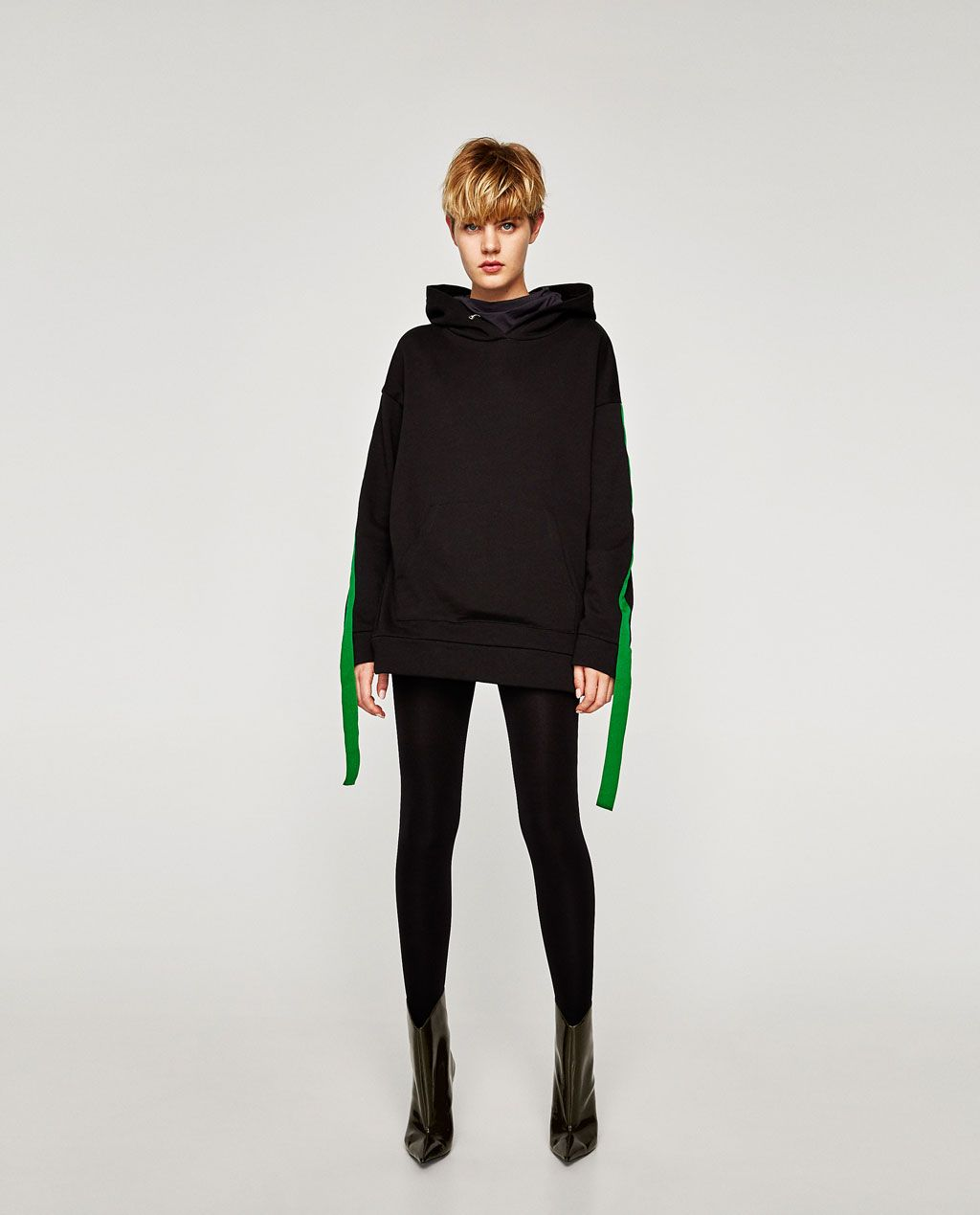 a88df88f756 Image 1 of CONTRASTING SWEATSHIRT WITH RIBBONS from Zara