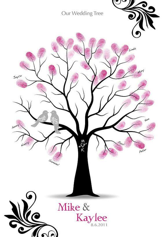 Fingerabdruck Hochzeit Tree Guest Book Poster Von Tjloveprints