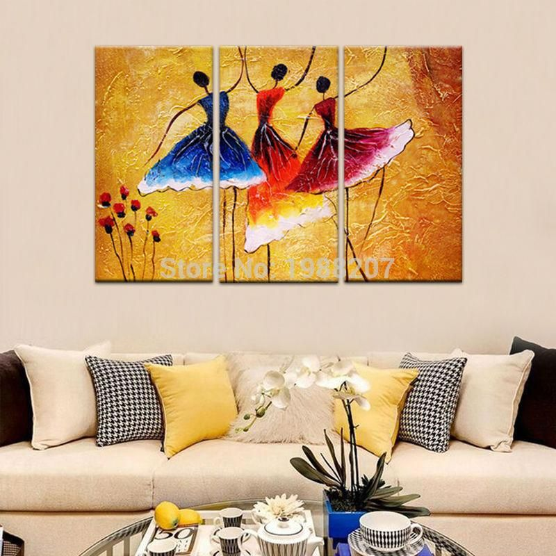3 Panels Abstract Ballet Dancers Oil Painting Printed on Canvas with ...
