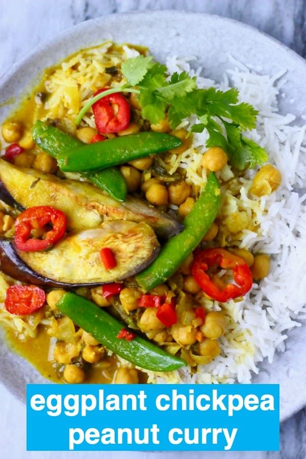 ThisEggplant Chickpea Peanut Curry is super nutritious, rich and creamy and perfectly spiced! Vegetarian, vegan, gluten-free, dairy-free and refined sugar free.