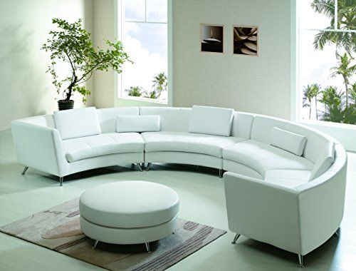 Modern Line Furniture 8004W G7 Contemporary Leather Curved Open Chaise  Sectional Sofa With Ottoman