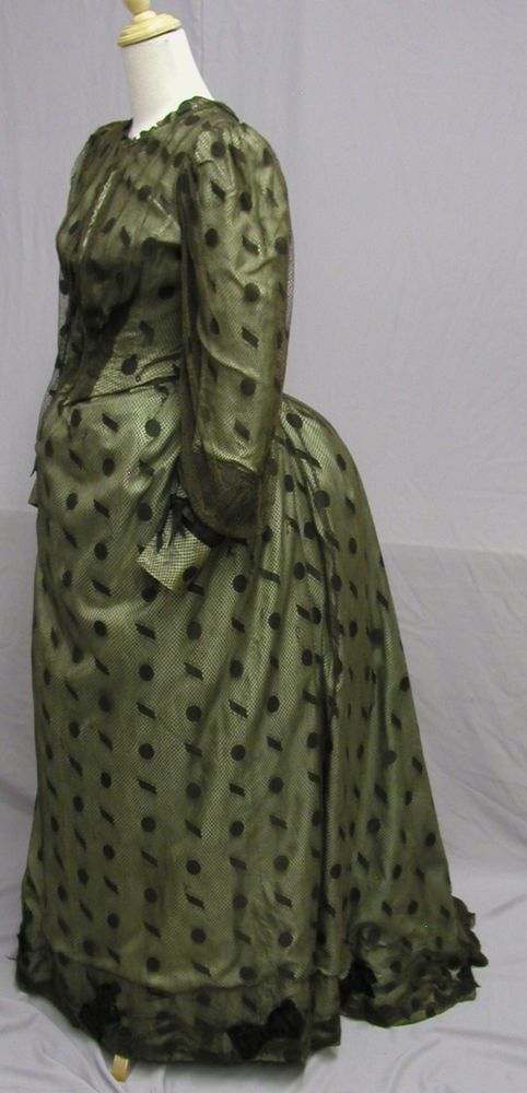 #1111, Striking Green Faille & Brown Net Bustle Gown